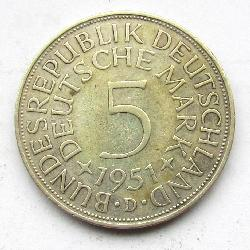 Germany 5 DM 1951 D