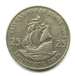 Eastern Caribbean Territories 25 cents 1994