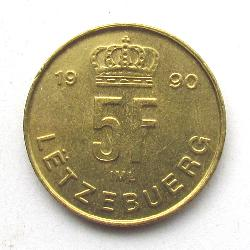 Luxembourg 5 francs 1990